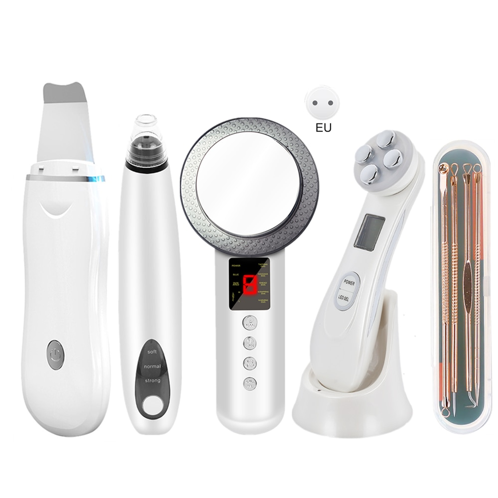 Ultrasonic Skin Scrubber+RF&EMS Wrinkle-Reducing Beauty Instrument +EMS Slimming Device+Electric Blackhead Removal+Acne Needle