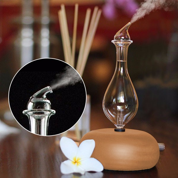 Wooden Glass Aromatherapy Pure Essential Oils Diffuser Air Nebulizer Humidifier Household Humidifier