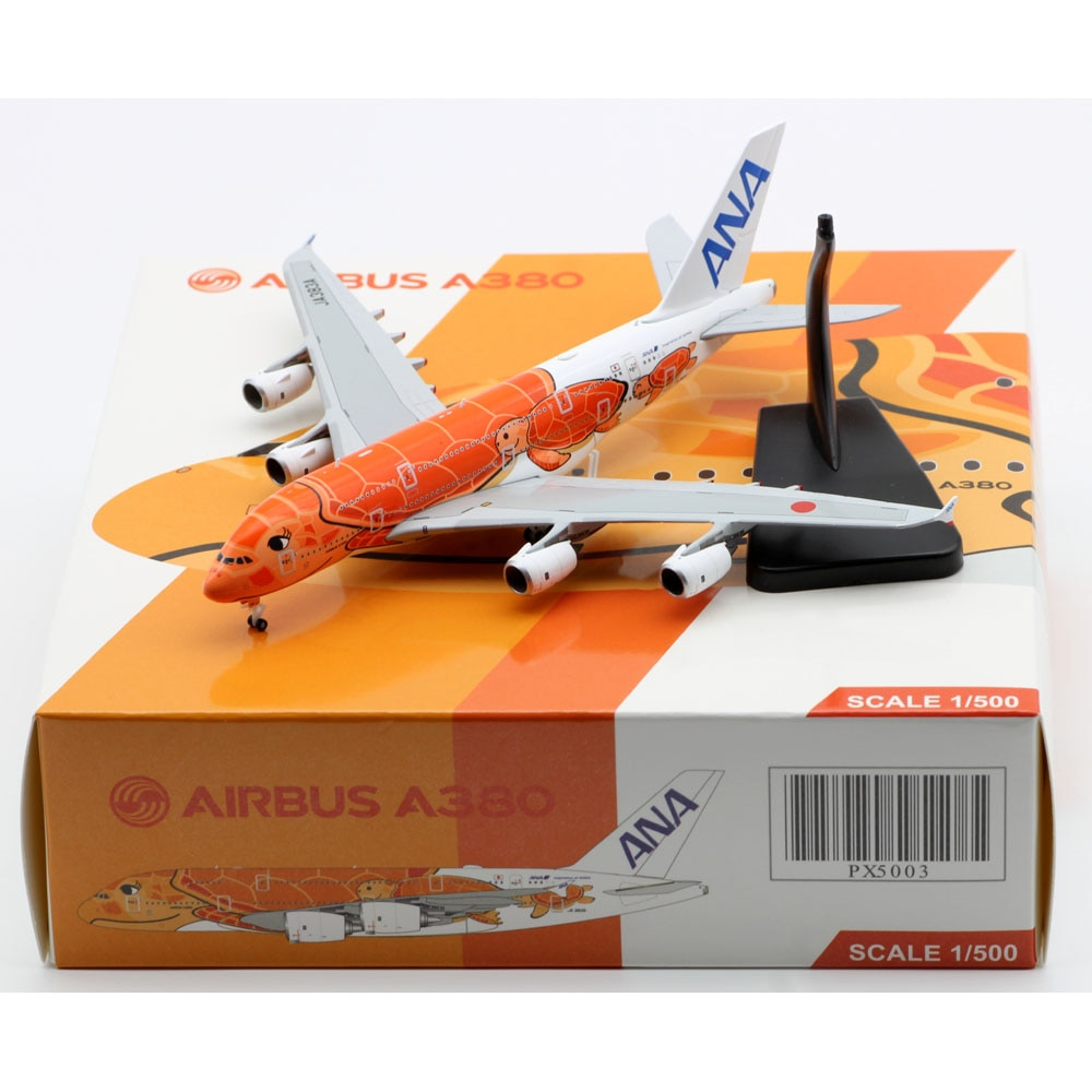 """1:500 Alloy Collectible Plane JC Wings PX5003 ANA Airlines """"Flying Honu Livery"""" Airbus A380 Diecast Aircraft Jet Model JA383A"""