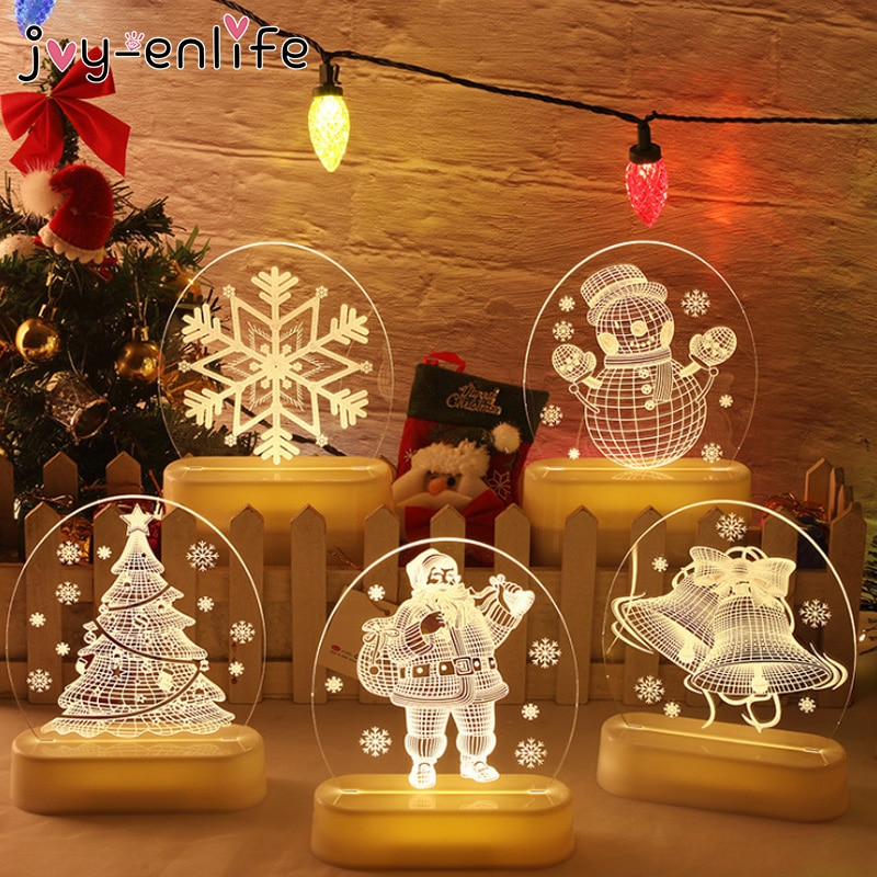 Merry Christmas 3D LED Night Light Table Lamp Children Bedroom Decoration Christmas Decoration For Home Xmas Gifts New Year 2021