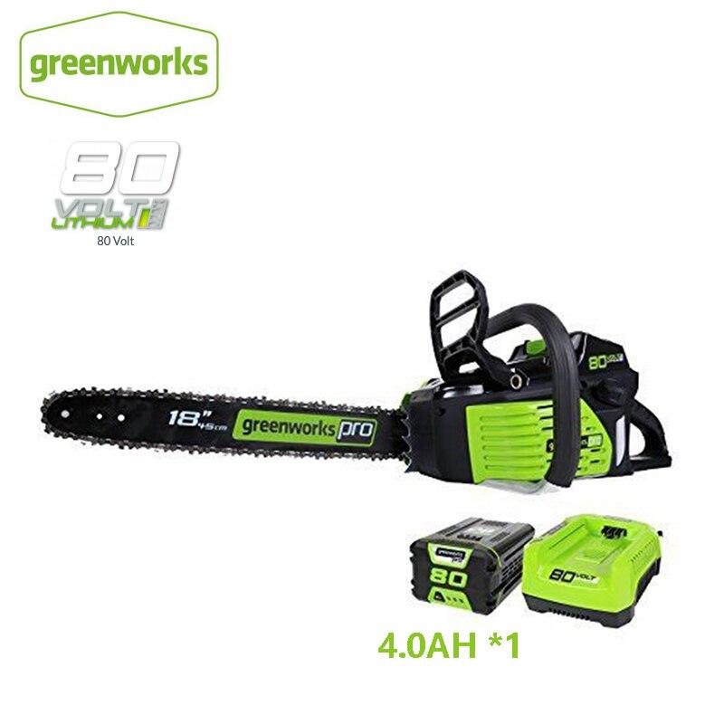 Greenworks Pro GCS80420 80 فولت 18 بوصة بالمنشار اللاسلكي كما منشار البنزين سلسلة شد مرنة ، وشملت بطارية وشاحن ليثيوم أيون 4.0Ah