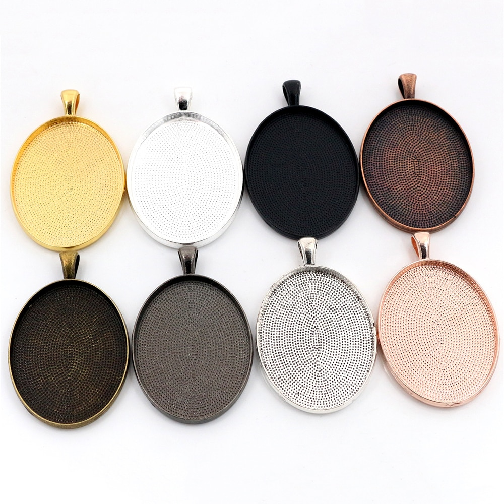 New Fashion 5pcs/lot 30x40mm Inner Size 8 Colors Plated Simple Style Cabochon Base Setting Charms Pendant