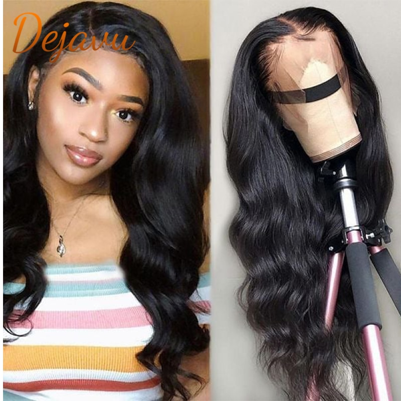 Brazilian Body Wave Human Hair Wigs Lace Front Remy Hair Weave Wig Natural Black 1B Color For Women Prepluck Glueless