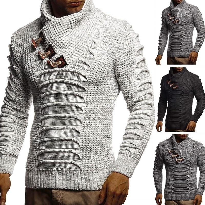 Jersey ZOGAA de punto para hombre, chal, suéter de cuello alto, Jersey de invierno de manga larga, ropa informal estilo hip hop, jersey para hombre delgado
