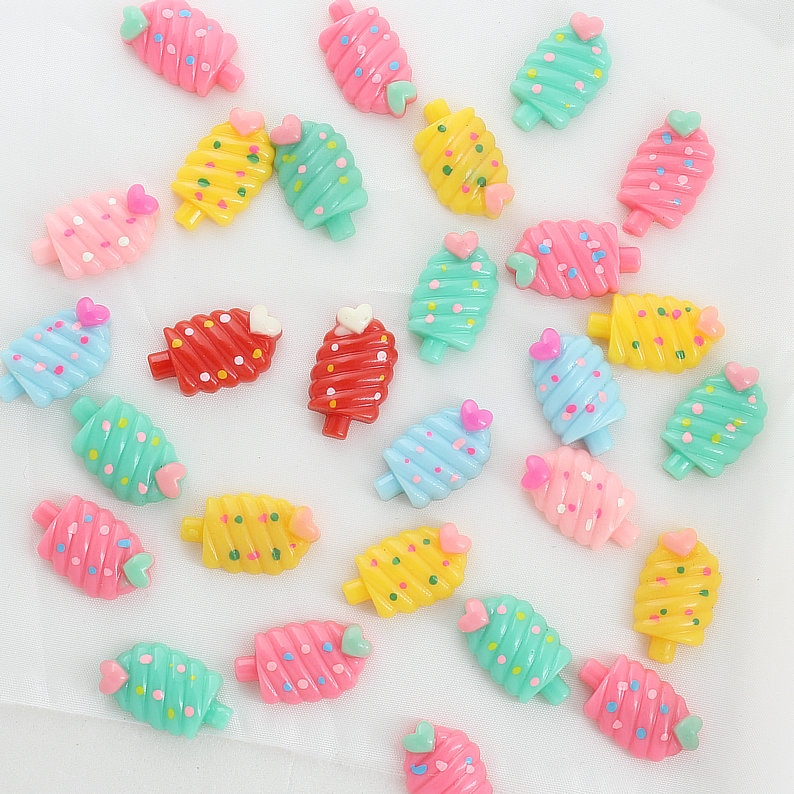100pcs Kawaii polka dot Ice-cream Cream Resin with heart Shiny Cabochons cab mixed colors 22mm Free Shipping D25 недорого