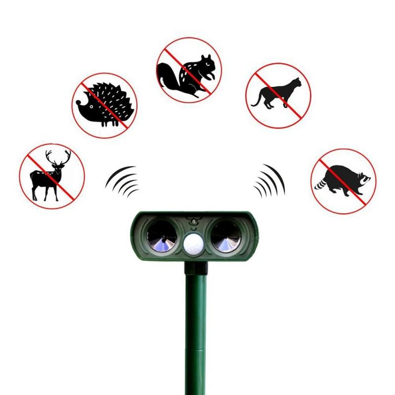 New Ultrasonic Animal Chaser Repeller Repel Cat Dog Fox Animal Outdoor Use Solar Powered Scarer Repe