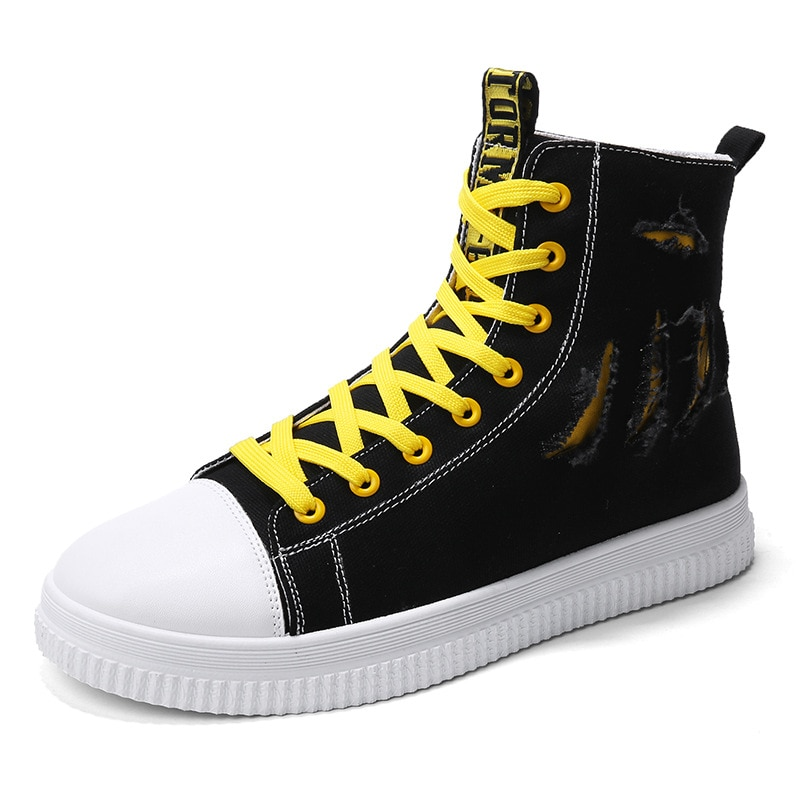 Men's Vulcanize Shoes Men Spring Autumn Top Fashion Sneakers Lace-up High Style Solid Colors Man yellow shoelaces Shoes