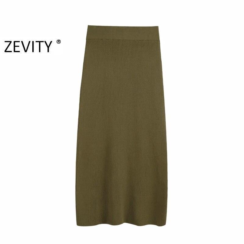 2020 novas mulheres do vintage cor sólida voltar dividir tricô emagrecimento midi saia faldas mujer senhora chique vestidos mid-bezerro saia qun662