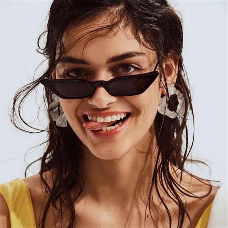 2020 bonito sexy retro gato olho óculos de sol feminino transparente rosa triângulo vintage ciclismo óculos de sol vermelho feminino uv400 dropship