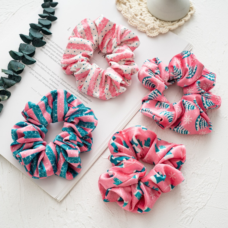 Winter Autumn Fashion Good Quality Velvet Scrunches Bands Christmas Festival Hair Rubber Bands Pink Green Series Hair Accessory