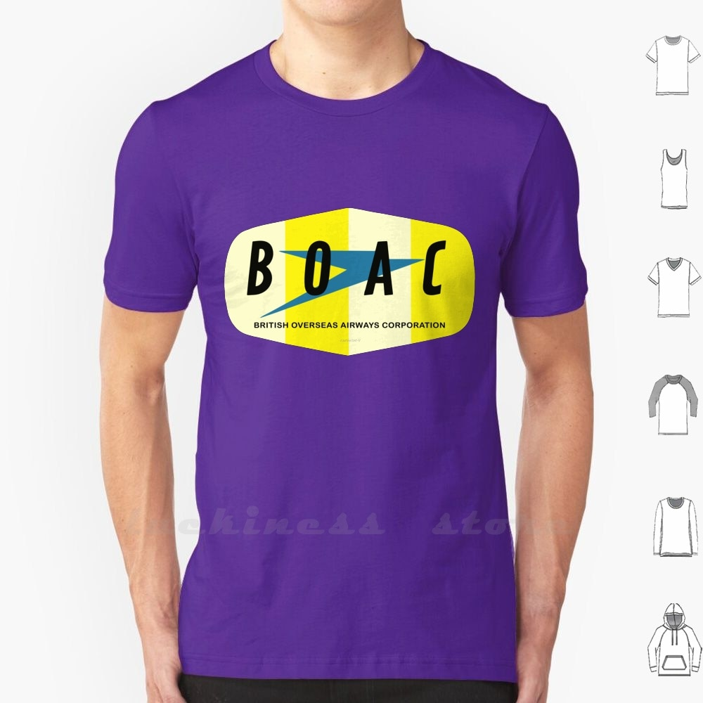 Boac T Shirt Big Size Airway Plane Uk Company Oversea Travel Jet Airport Vintage England London 50S 60S 70S Airways British