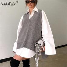 Nadafair-pull ample, surdimensionné, fendu, pull sans manches, Long pull pour femmes, col en V, tricoté, automne, décontracté