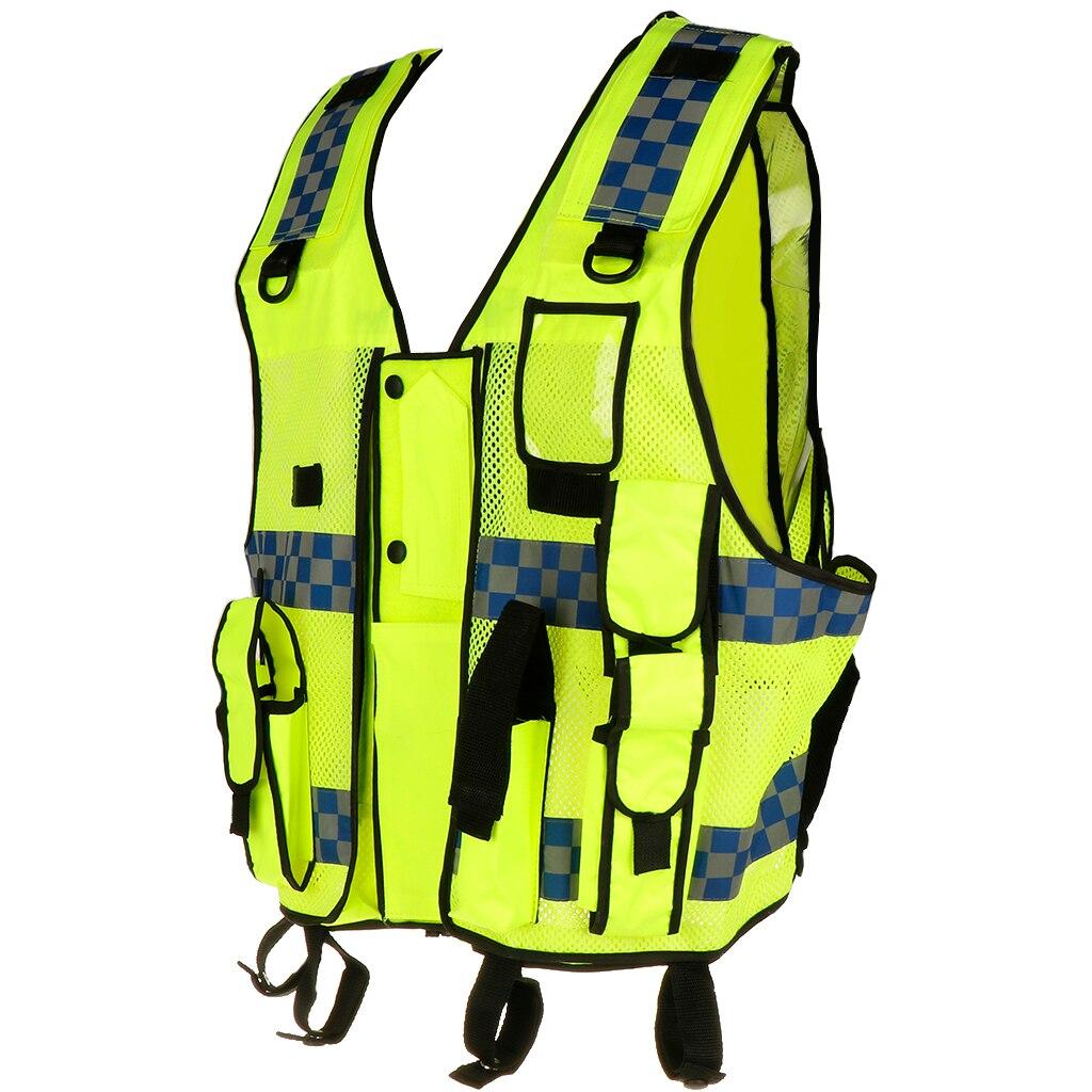 Chaleco de seguridad frontal con cremallera de alta visibilidad de bolsillo con tiras reflectantes