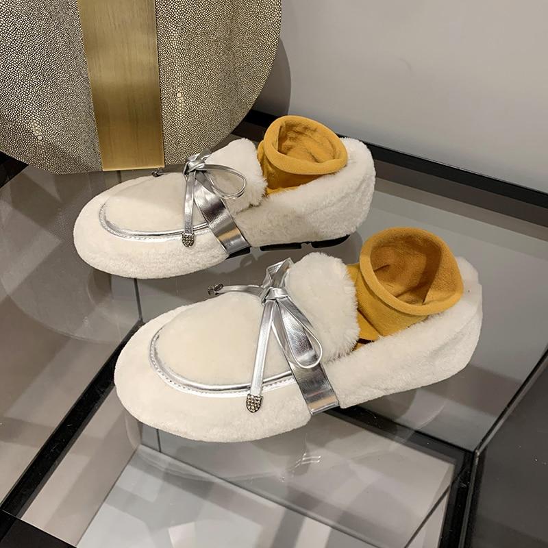 Lana de cordero más terciopelo grueso inferior beanie mujeres 2019 otoño e invierno nuevo estilo exterior zapatos planos