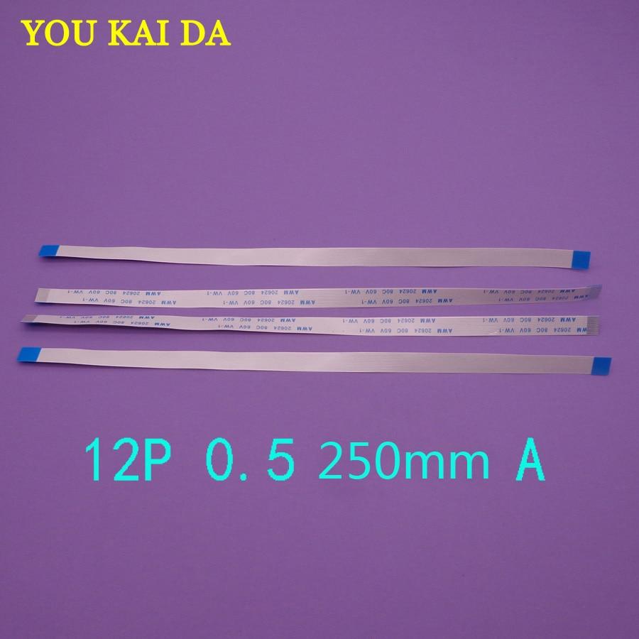 6PCS FFC FPC 12pin flache flexible kabel 0,5mm pitch 12 pin vorne Länge 250mm Breite 6,5mm band 12 p AWM 20624 80C 60V VW-1