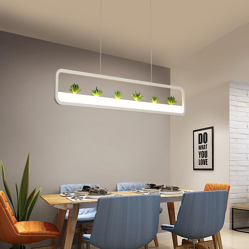Creative led Pendant Lights White/Black Iron Plant Suspension hanging lamp For Restaurant Dining Room Home Decorative Lanterns