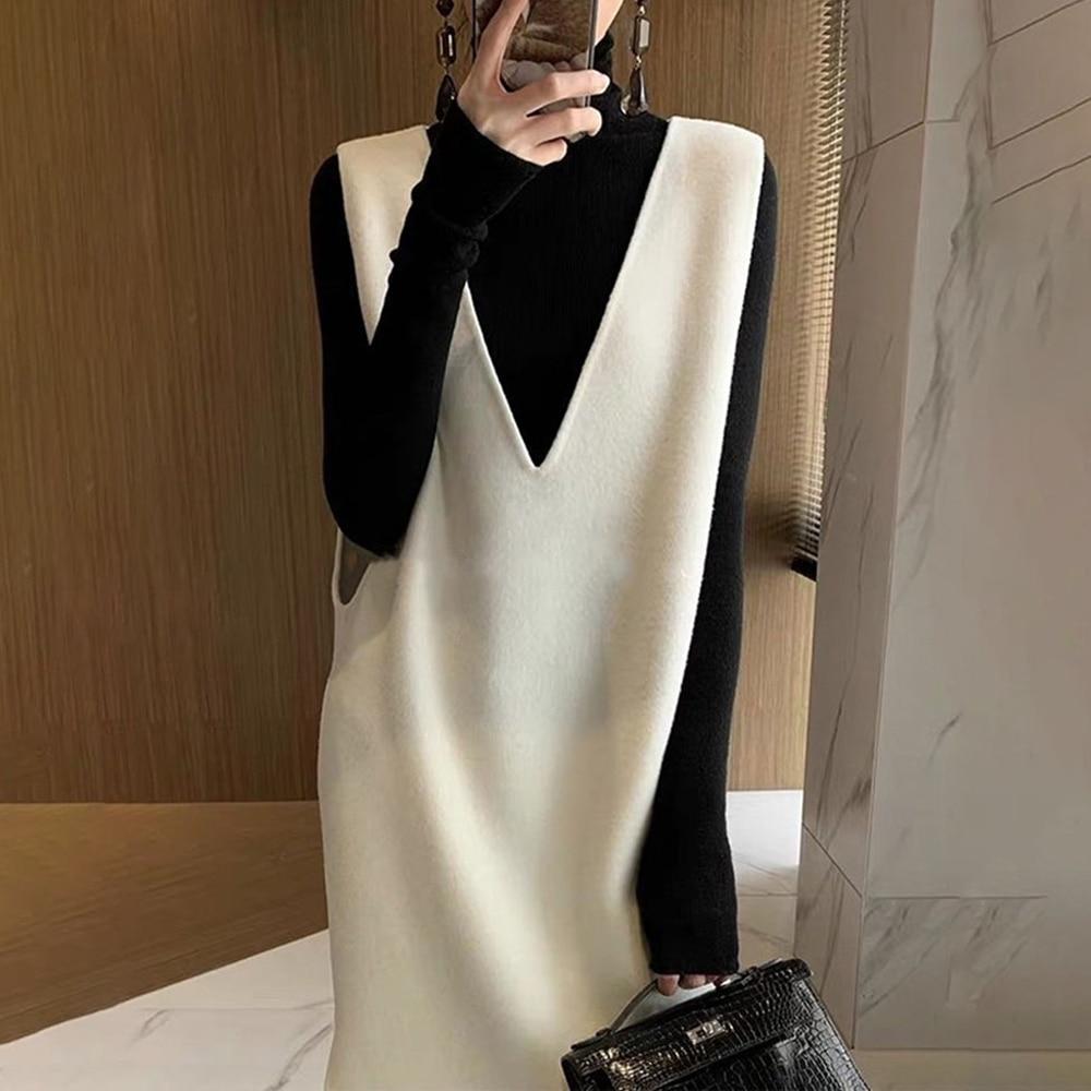 Knit Dresses Women 2021 Autumn Winter V-Neck Pullover Sleeveless Long Dress Korean Style Loose Vest Wool Fleece Sweater Skirt