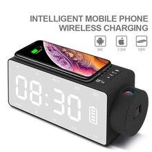 Haut-parleur sans fil Chrager Bluetooth Portable 2000mAh 2 en 1 horloge fonction de projection FM haut-parleur miroir lit Subwoofer