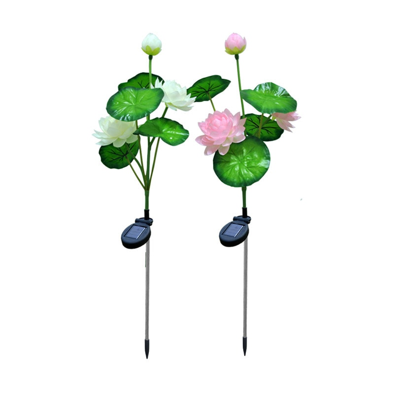 Solar lotus light 3 heads LED solar lawn ground plug simulation flower lantern pole