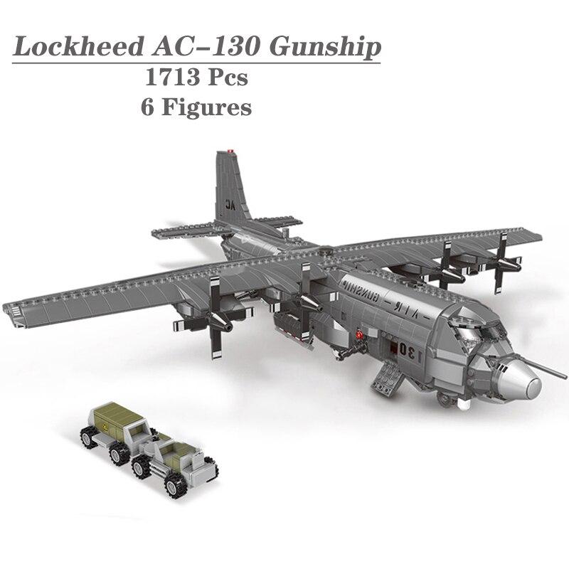 سلسلة عسكرية MOC الطوب لعب الأسلحة WW2 نوع لوكهيد AC-130 الجوي قارب مقاتل الأمريكية نموذج اللبنات هدايا الاطفال