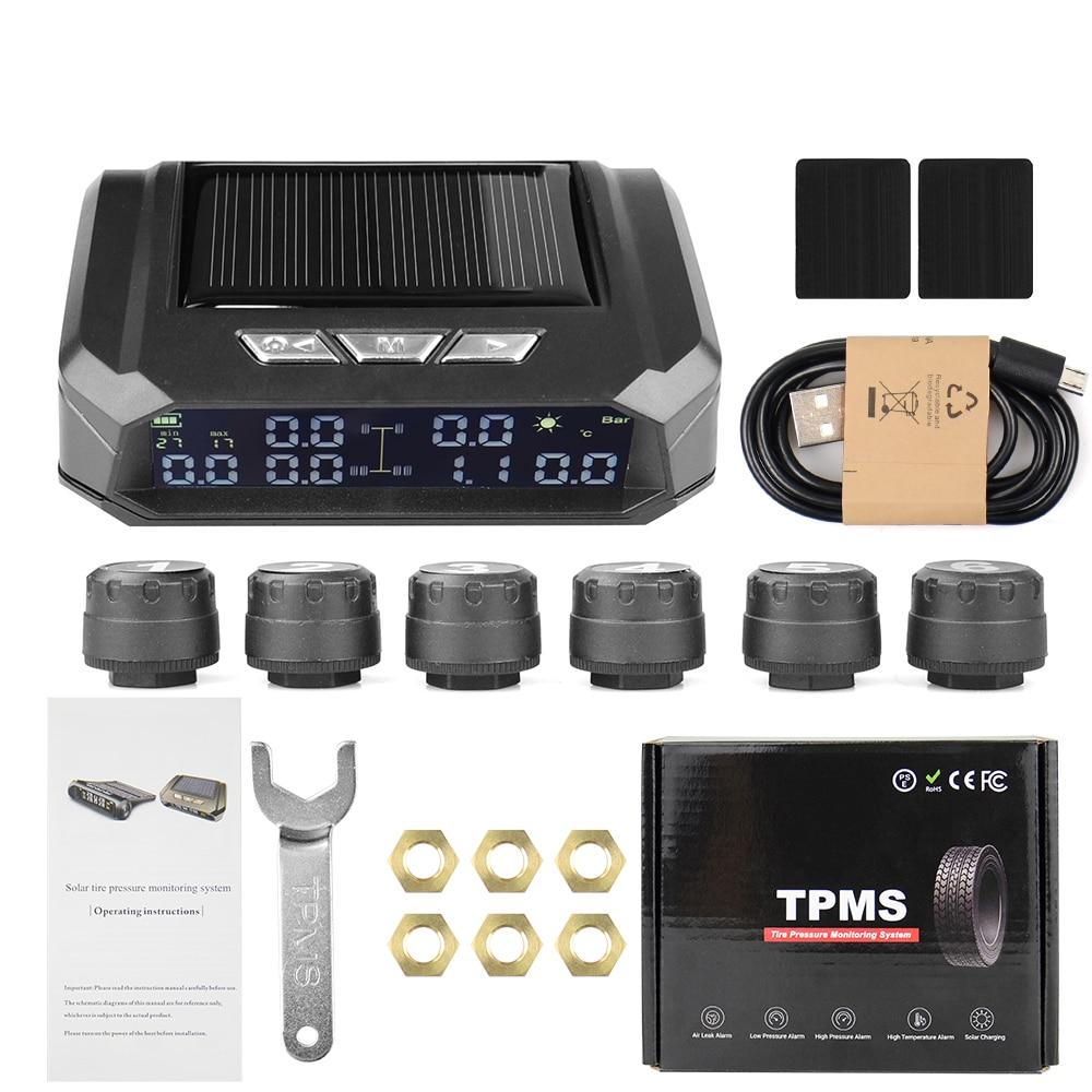 Lkw Auto TPMS Tire Pressure Monitoring System Auto Display Alarm Überwachung USB Lade Temperatur Alarm Mit 6 Sensoren