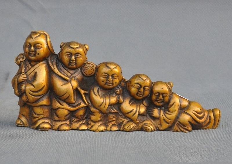 Navidad vieja China bronce puro favorable 5 herramientas de caligrafía niño niña...