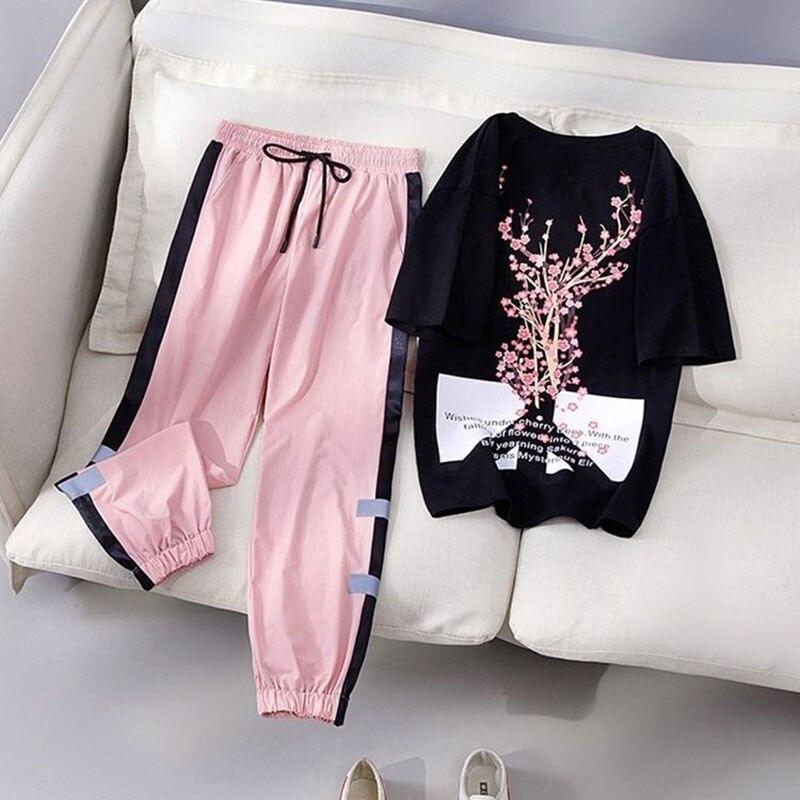 Two Piece Set Women Fashion Sport casual suit Flower Letter Print Top+Print Elastic Waist Long Pants Summer Tracksuit Female T15