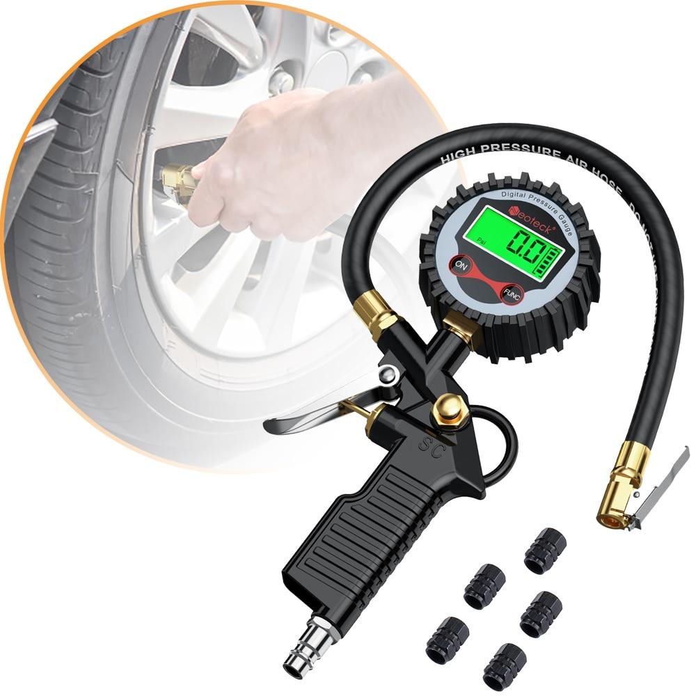 Manómetro de inflado de neumáticos Digital de 200 PSI con 5 tapas de válvula de rueda negra manómetro