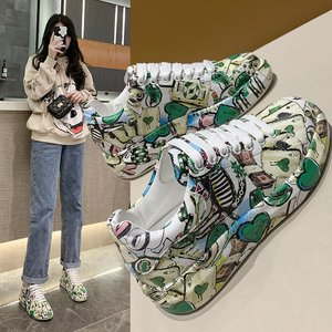 2021 New Hand Painted Graffiti Women Casual Shoes Small White Shoes Leather Thick Soled High Rise Board Shoes Women Sports Shoes