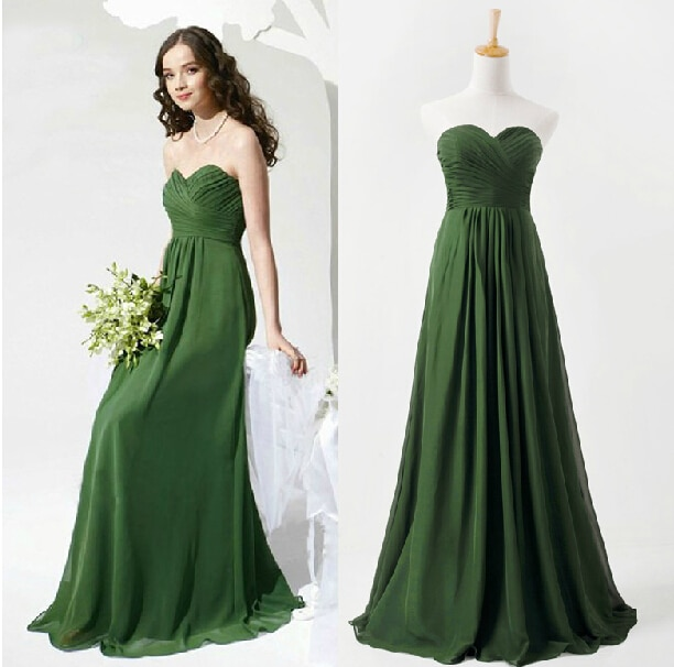 free shipping vestido de festa longo sweetheart party prom 2018 new design green long formal elegant Bridesmaid Dresses