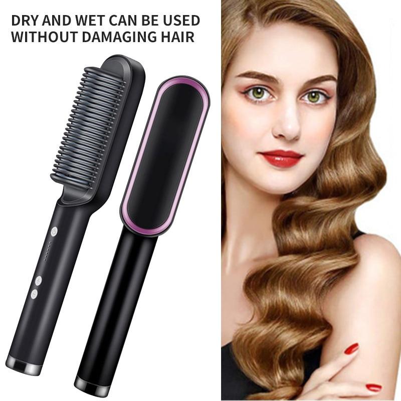 New Multifunctional Professional Hair Straightener Tourmaline Ceramic Hair Curler Brush Hair Curling Hair Comb Straighteners