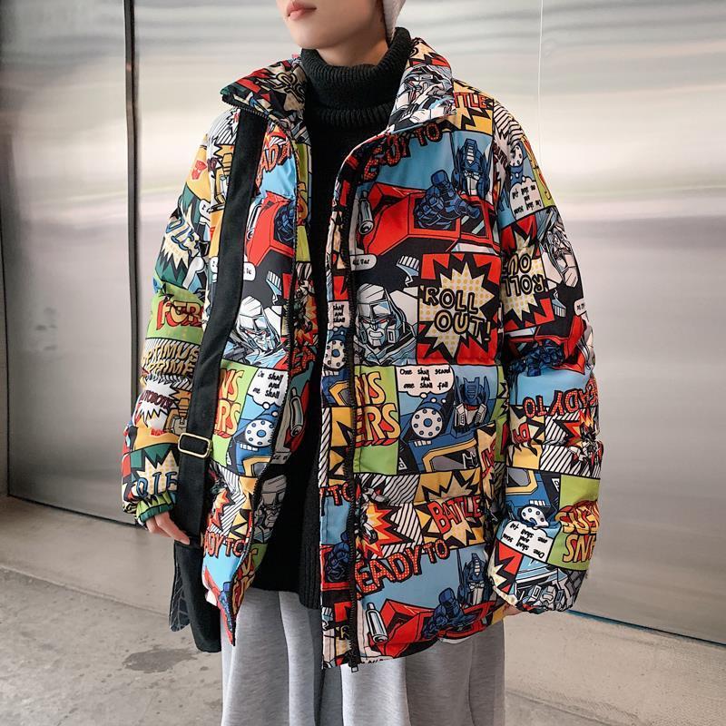 Men's Parkas Hip Hop Winter Jacket Parka Cartoon Graffiti Streetwear Windbreaker Harajuku Winter Padded Jacket Coat Outwear