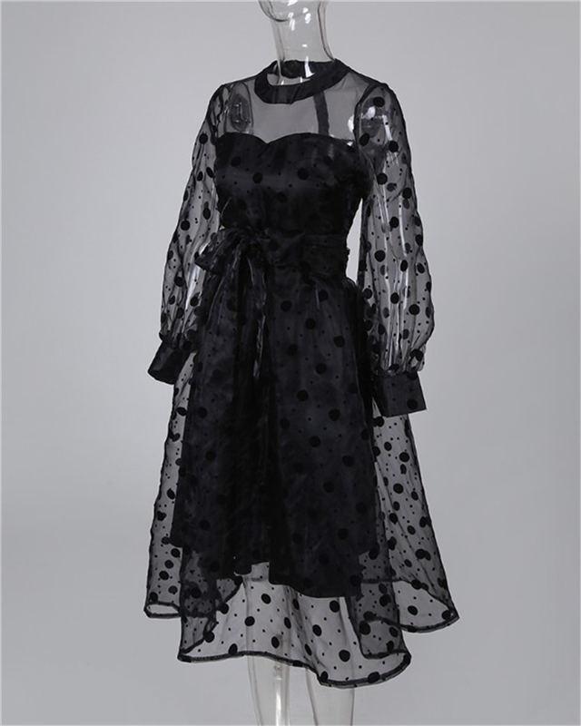 Poka Dot Sheer farolillo con malla manga Sexy vestido de verano negro ajuste y vestido de llamarada