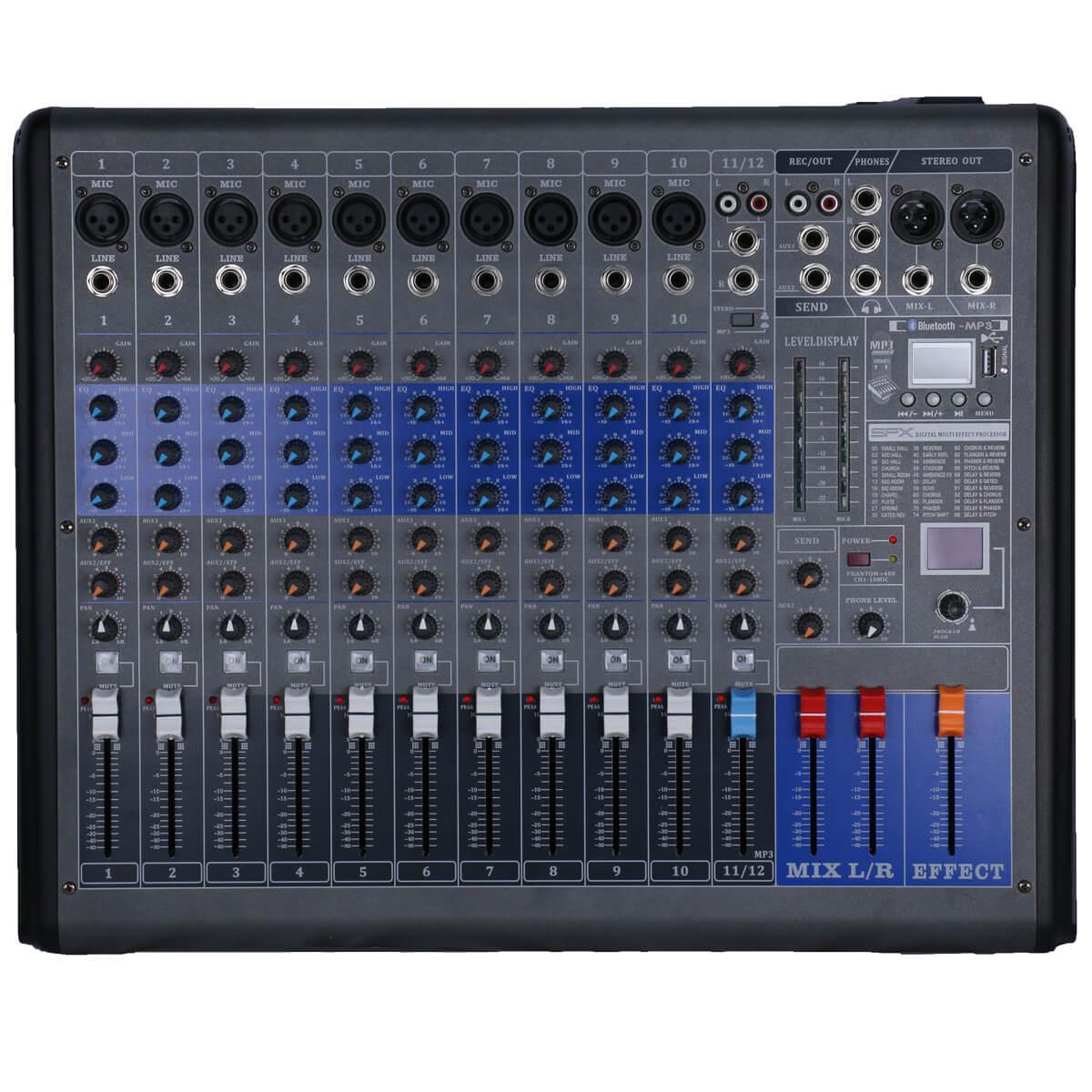 المهنية جهاز مزج الصوت 12 قناة خلط وحدة التحكم الرقمية 256 DSP استوديو كارت الصوت مع واجهة بلوتوث USB