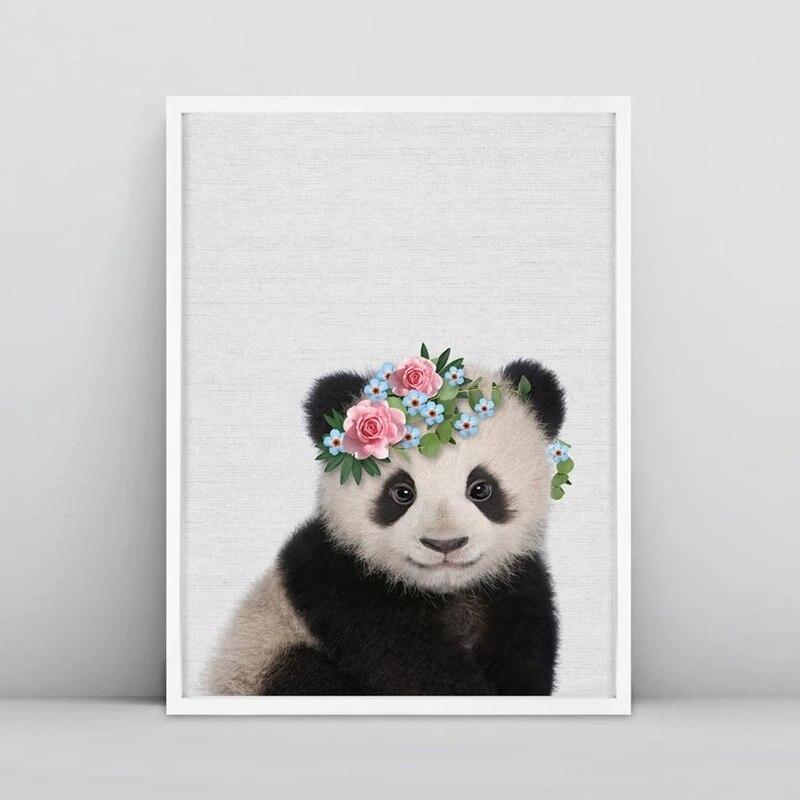 Панда Cub печать для детской комнаты, Настенный декор, лесное животное с цветами, корона, искусство, холст, живопись, искусство