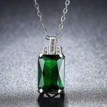 Cuadrado verde Zircon damas collar de cristal Esmeralda del encanto de la joyería de cadena de joyería de moda de las señoras fiesta de compromiso regalo