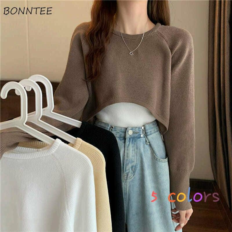 Укороченные свитера для женщин, чистый подростковый шикарный дизайн в стиле Харадзюку, Универсальный простой Женский пуловер в стиле преппи, винтажный милый трикотажный ретро