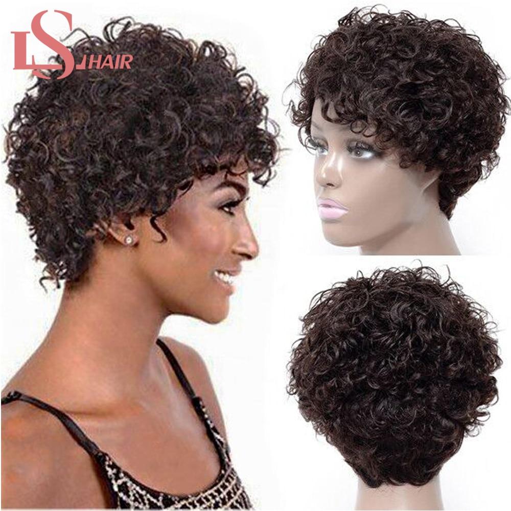 Pelucas de cabello humano brasileño Pelo Corto jerry rizado Bob pelucas de cabello humano para mujeres pelucas de densidad 130% de cabello Natural negro no Remy