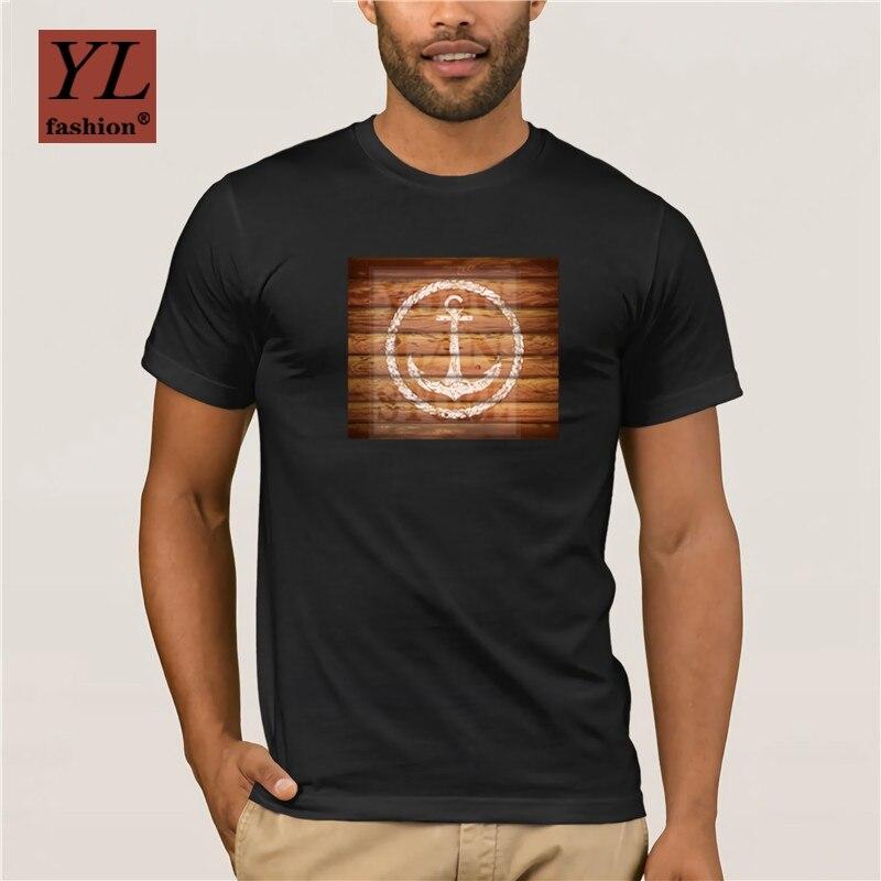 2020 nouvelle mode t-shirts hommes Vogue t-shirts Marine emblème ancre sur planches de bois court