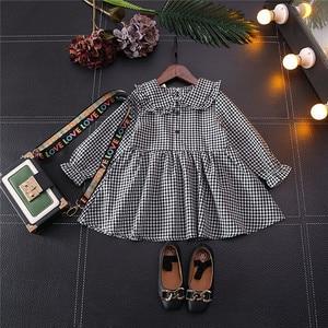 Girls' Clothes 2020 Autumn New Fashion Long Sleeved Dress For Girl Children's Doll Collar Plaid Cotton Elegant Princess Dress