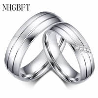 nhgbft classic stainless steel couple ring mens women engagement promise wedding rings dropshipping