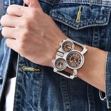 Oulm HT1167 Mesh Steel Men's Military Watches 3 Time Zone Unique Male Clock Quartz Watch Big Dial Ca