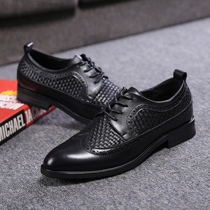 mens casual business wedding formal dress cow leather shoes weave pattern carved brogue shoe pointed toe bullock sneakers sapato