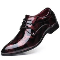mens shiny leather shoes mens breathable fashion business casual mens shoes red large size mens british style leather shoe
