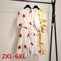big size 6xl dress for fat mm 2021 new print holiday summer dress loose solid plus size women clothing beach dress