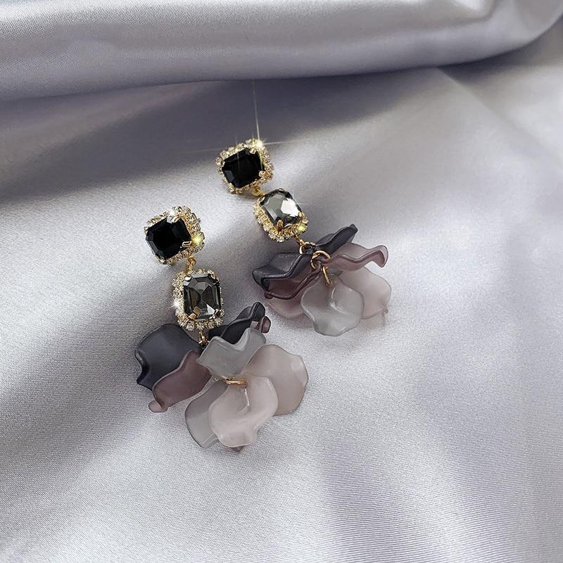 2019 Korea New Design Fashion Jewelry Acrylic Knit Gradient Earrings Elegant Temperament Crystal Earrings for women gift