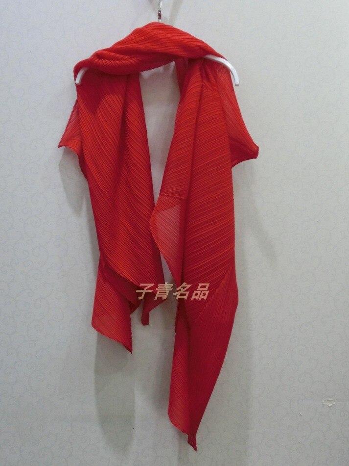 وشاح Miyake قابل للطي, شال ناعم ومريح بلون نقي للاستخدام المزدوج