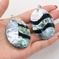 1pcs natural oval shell charms pendants for jewelry making diy earrings necklace accessories women gifts size 38x50mm