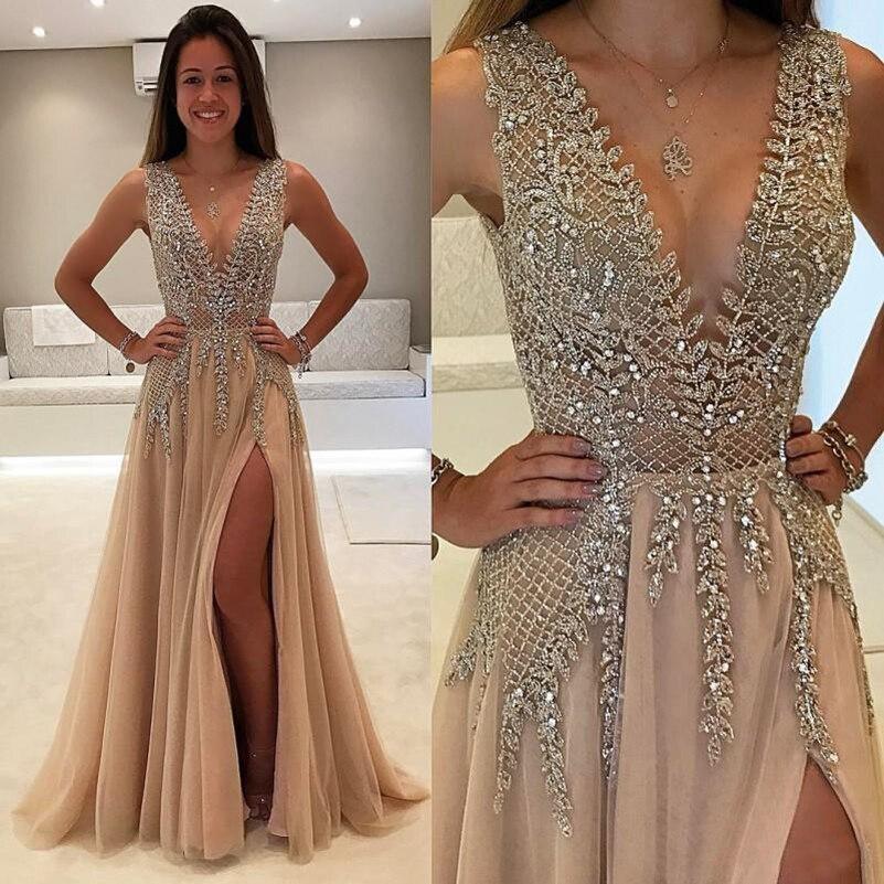 Nuevo estilo con cuentas vestidos de baile 2020 vestidos de gala Sexy sin espalda de cuello en v de fiesta Formal vestidos para las mujeres