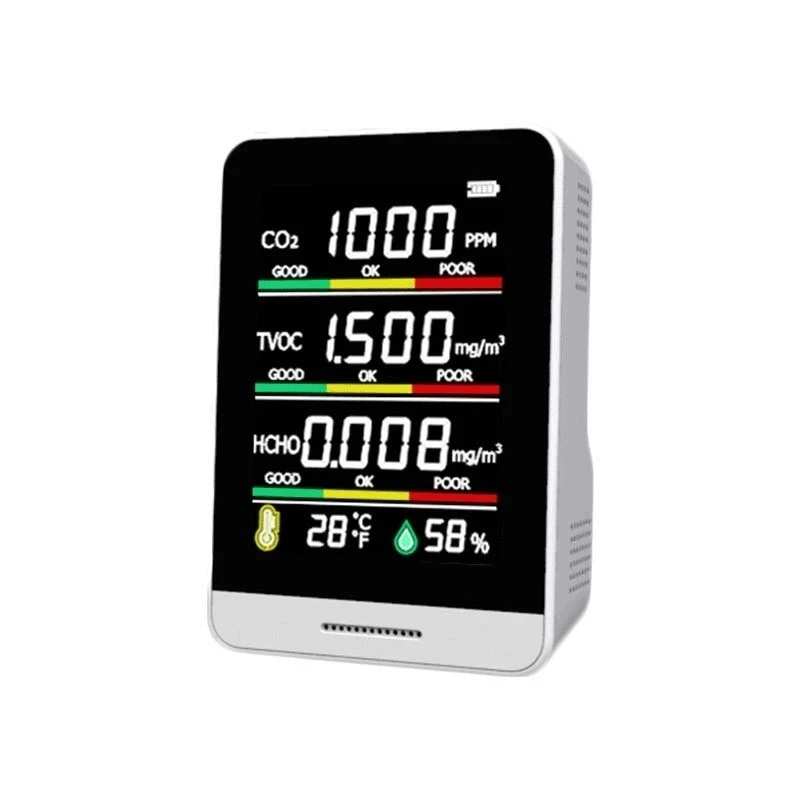 co2 meter digital temperature humidity sensor tester air quality monitor carbon dioxide tvoc formaldehyde hcho gas detector Multifunctional 5 in1 CO2 Meter Digital Temperature Humidity Sensor Tester Air Quality Monitor Carbon Dioxide TVOC HCHO Detector